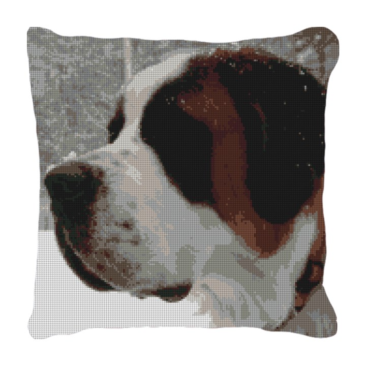 Saint Bernard Needlepoint Pillow