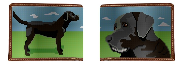 Black Lab Landscape Needlepoint Wallet