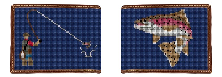 Fly Fishing Needlepoint Wallet