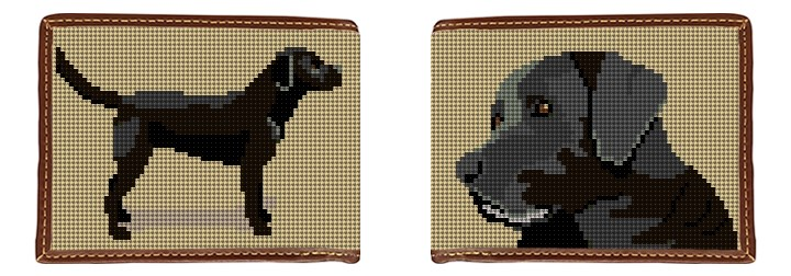 Black Lab Needlepoint Wallet
