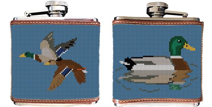 Mallard Needlepoint Flask Canvas