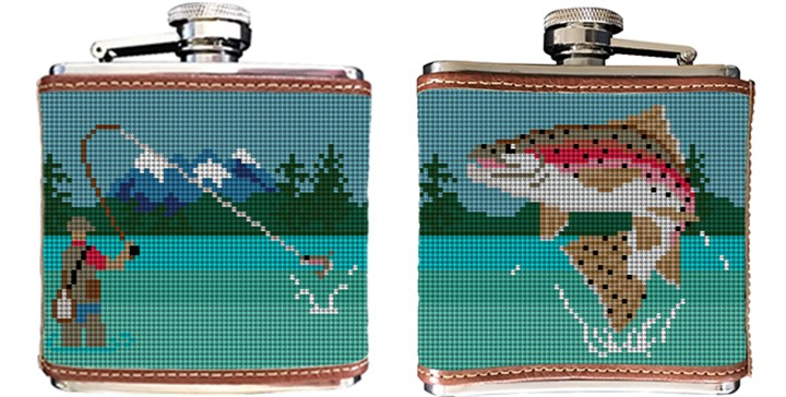Fly Fishing Landscape Needlepoint Flask