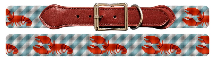 Preppy Lobster Needlepoint Dog Collar