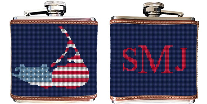 Nantucket Needlepoint Flask