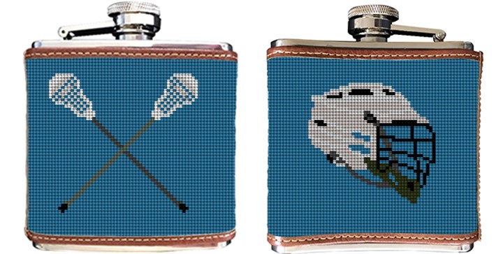 Lacrosse Needlepoint Flask