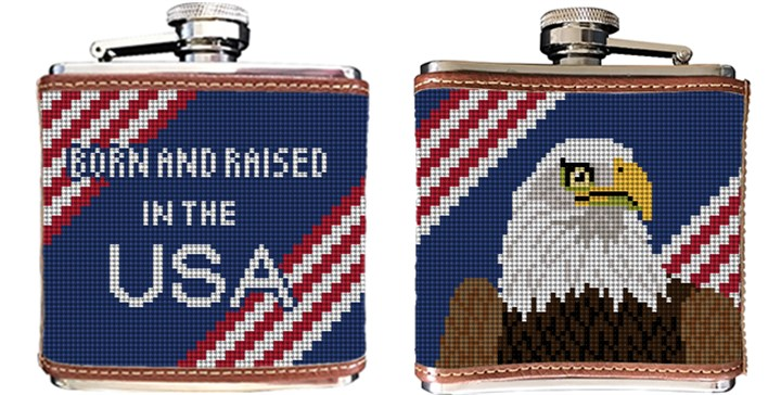 Eagle Needlepoint Flask
