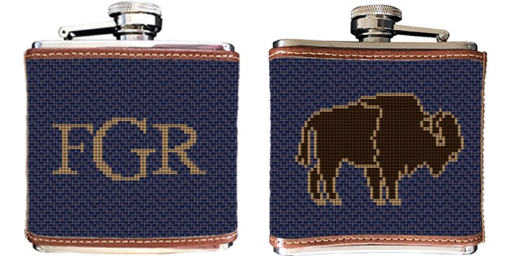 American Bison Needlepoint Flask