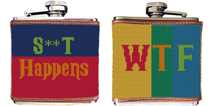 Colorful Expression Needlepoint Flask