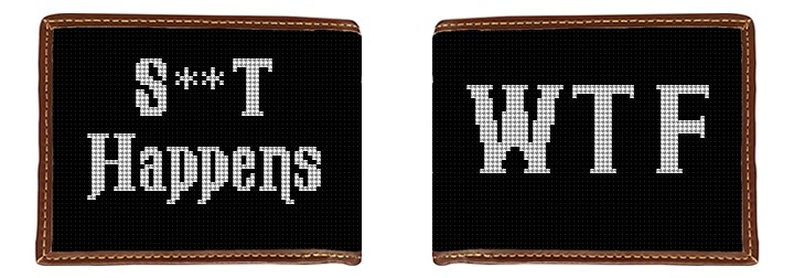 Black and White WTF Needlepoint Wallet