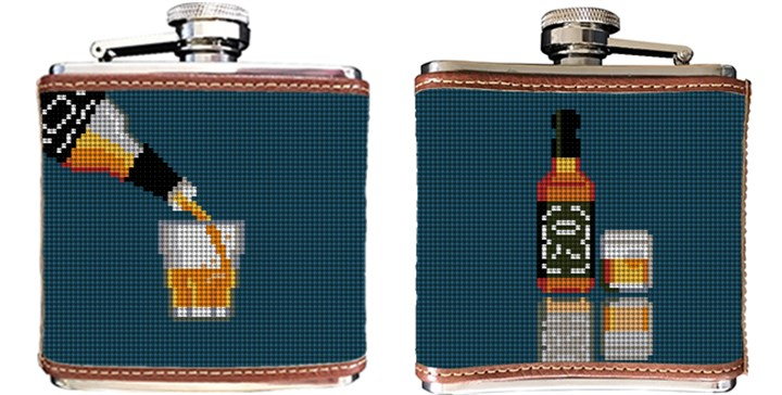 Whiskey Needlepoint Flask