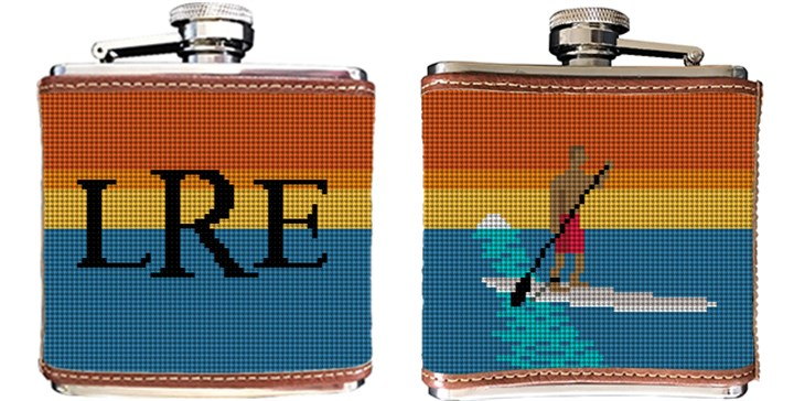Stand Up Paddling Needlepoint Flask