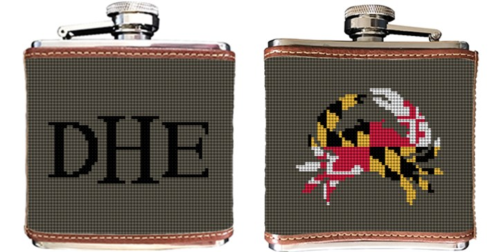 Maryland Crab Flag Needlepoint Flask