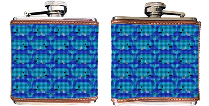 Preppy Whale Needlepoint Flask