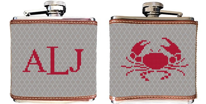 Crab Needlepoint Flask