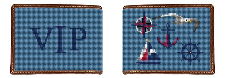 Nautical Needlepoint Wallet