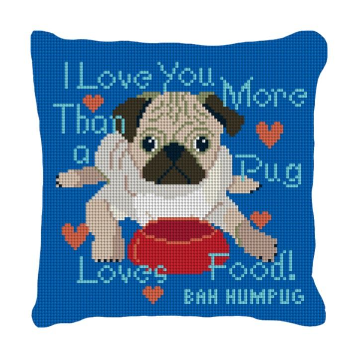 Pug Loves Food Needlepoint Pillow