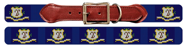 Connecticut Flag Needlepoint Dog Collar