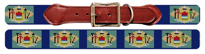 Delaware Flag Needlepoint Dog Collar