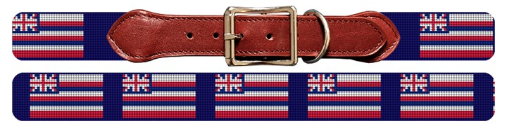 Hawaii Flag Needlepoint Dog Collar