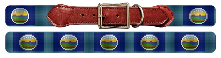 Kansas Flag Needlepoint Dog Collar