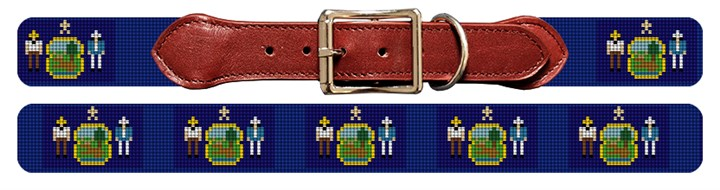 Maine Flag Needlepoint Dog Collar