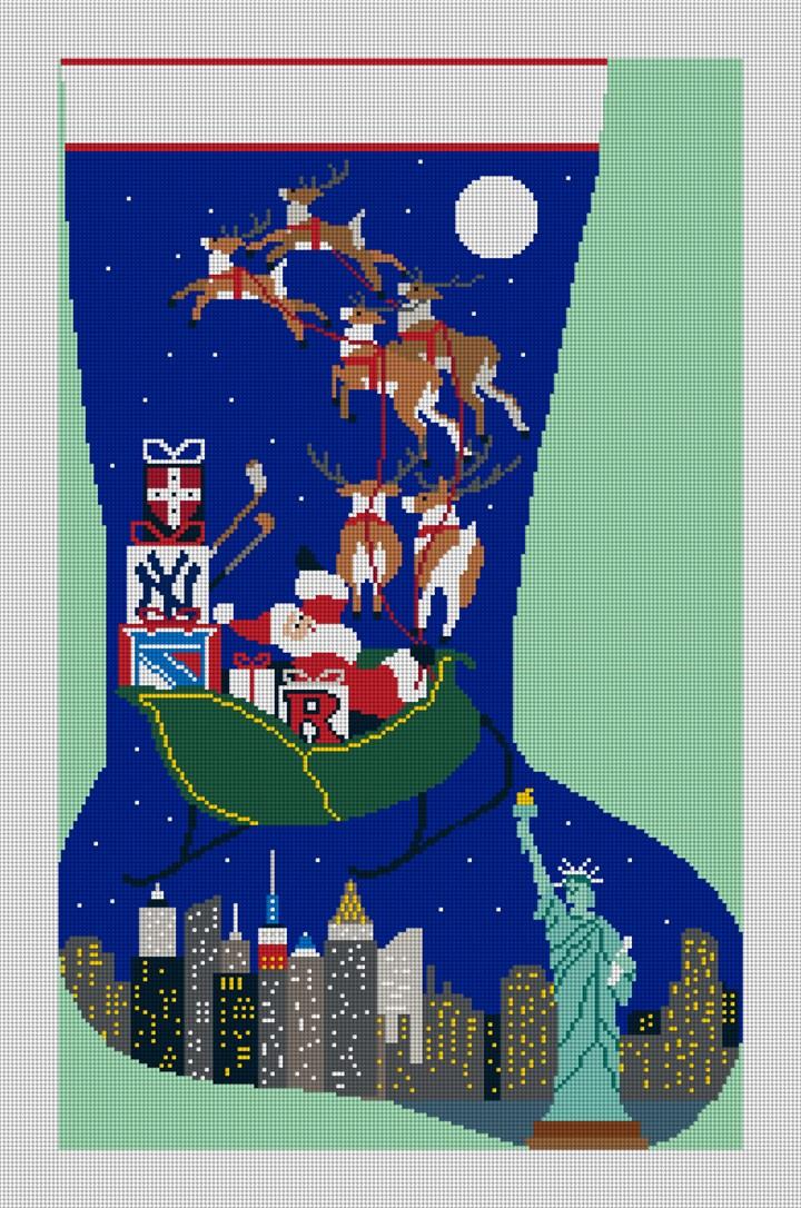 New York City Needlepoint Stocking Canvas