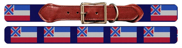 Mississippi Flag Needlepoint Dog Collar