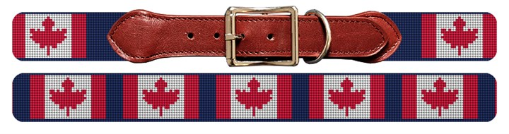 Canadian Flag Needlepoint Dog Collar