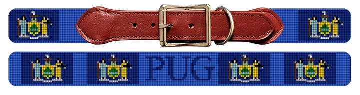 New York Flag Needlepoint Dog Collar