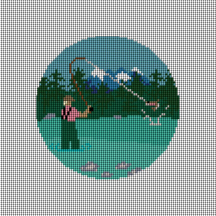 Fly Fishing Needlepoint Ornament Canvas