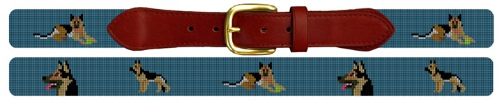 German Shepherd Needlepoint Belt