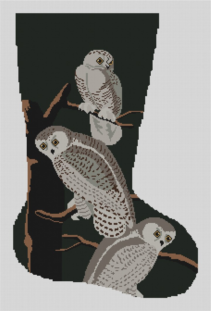 Snowy Owls Christmas Stocking Needlepoint Canvas