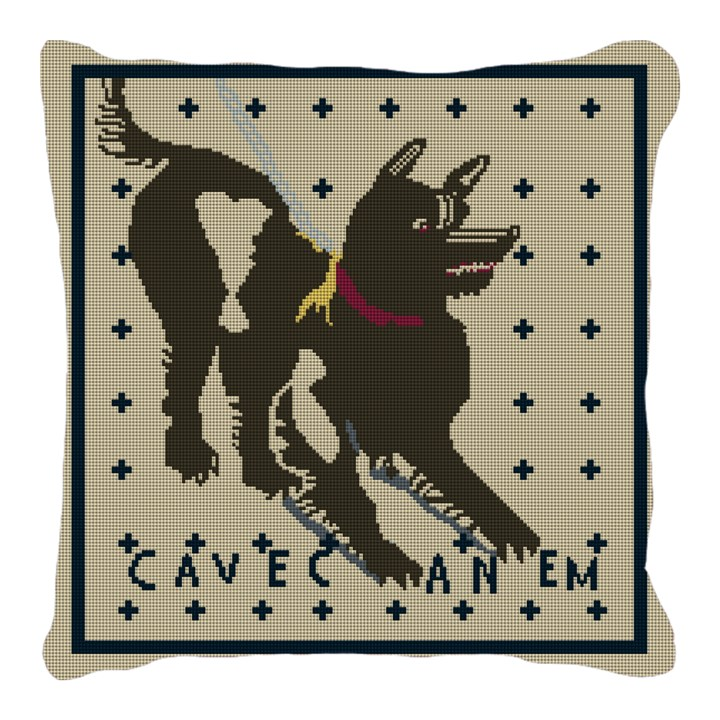 Cave Canem Mosaic Needlepoint Pillow