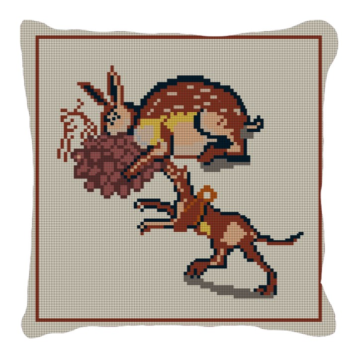 Rabbit and Dog Mosaic Needlepoint Pillow