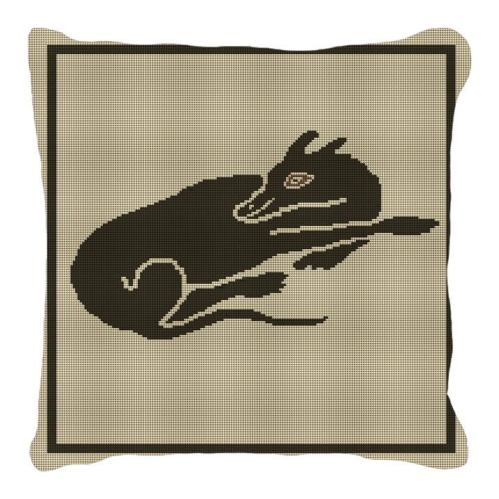 Sleeping Dog Mosaic Needlepoint Pillow
