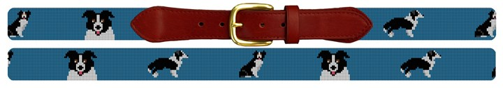 Border Collie Needlepoint Belt
