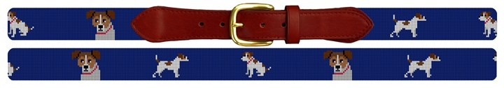 Jack Russel Needlepoint Belt