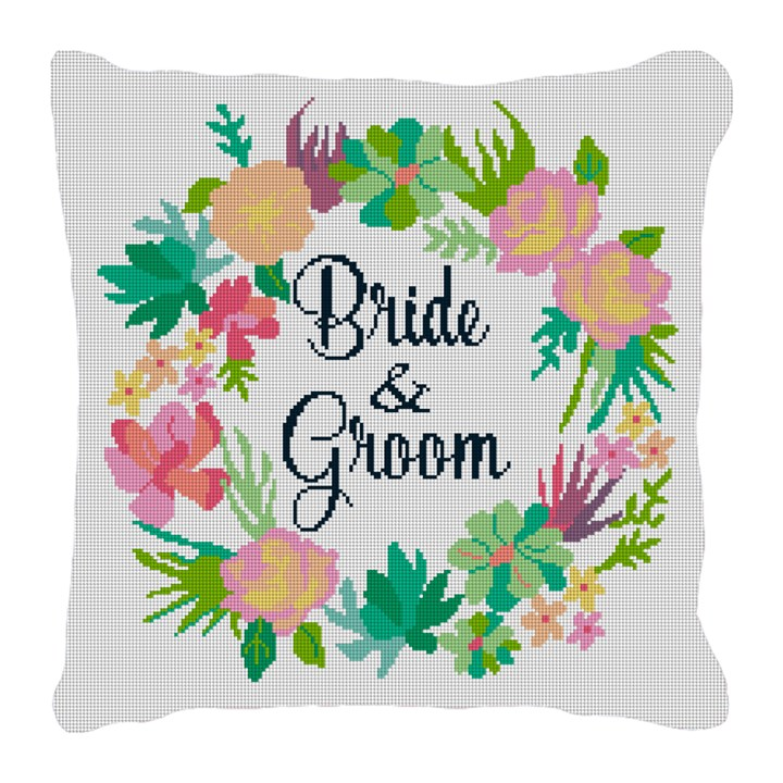 Floral Wreath Wedding Needlepoint Pillow
