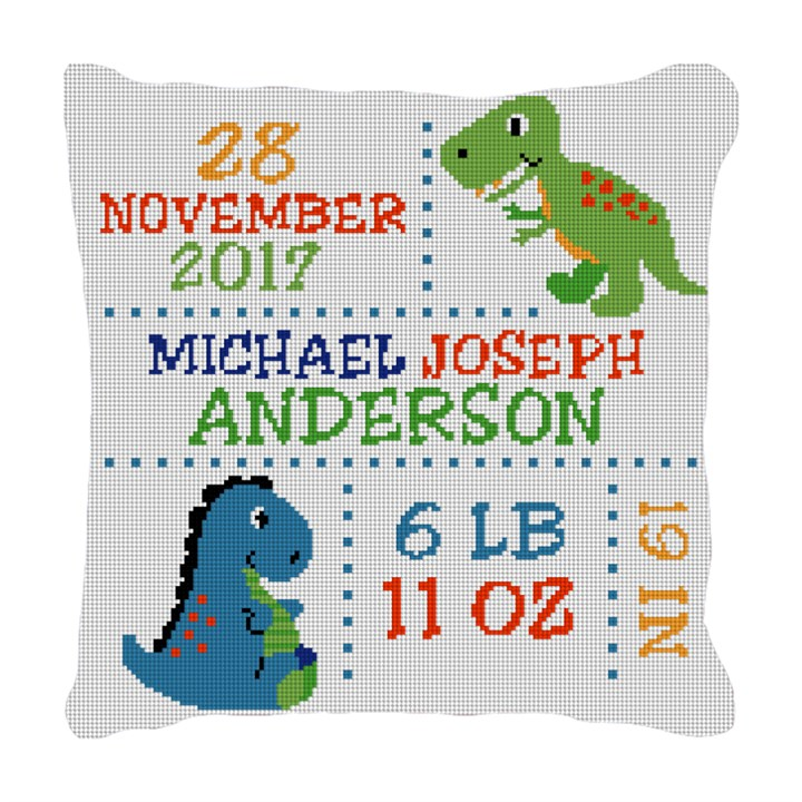 Dinosaur Birth Announcement Needlepoint Pillow