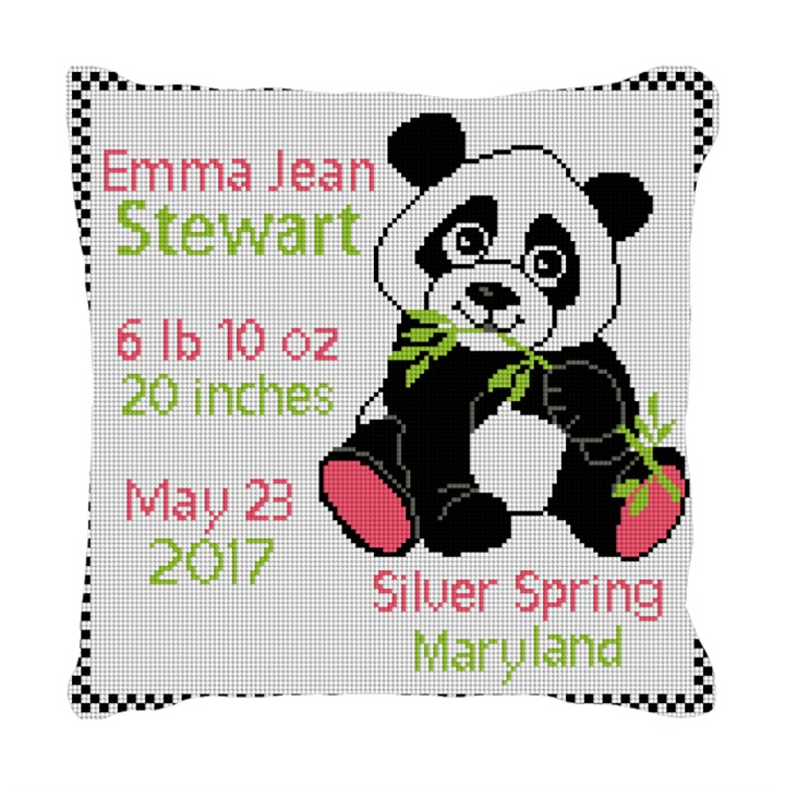 Panda Birth Announcement Needlepoint Pillow