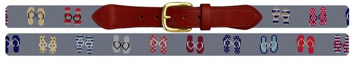 Flip Flops Needlepoint Belt