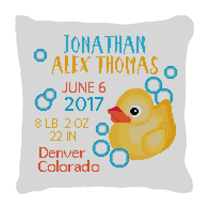 Rubber Duck Birth Announcement Needlepoint Pillow