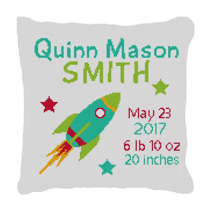 Rocket Birth Announcement Needlepoint Pillow