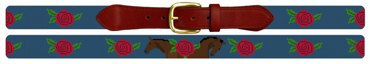 Roses and Horses Derby Needlepoint Belt