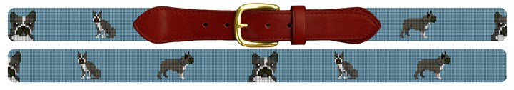 Boston Terrier Needlepoint Belt