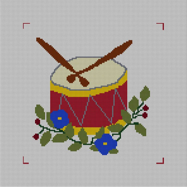 Twelve Drummers Drumming Needlepoint Canvas