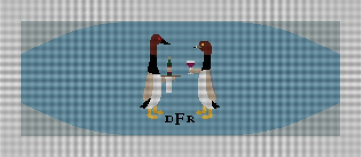 Formal Ducks Cummerbund Needlepoint Canvas
