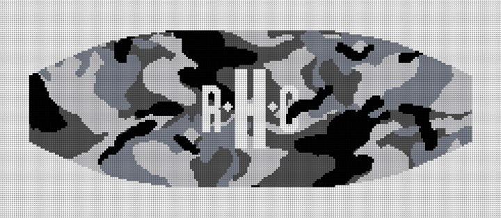 Black and White Camo Cummerbund Needlepoint Canvas