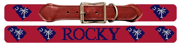 South Carolina State Needlepoint Dog Collar