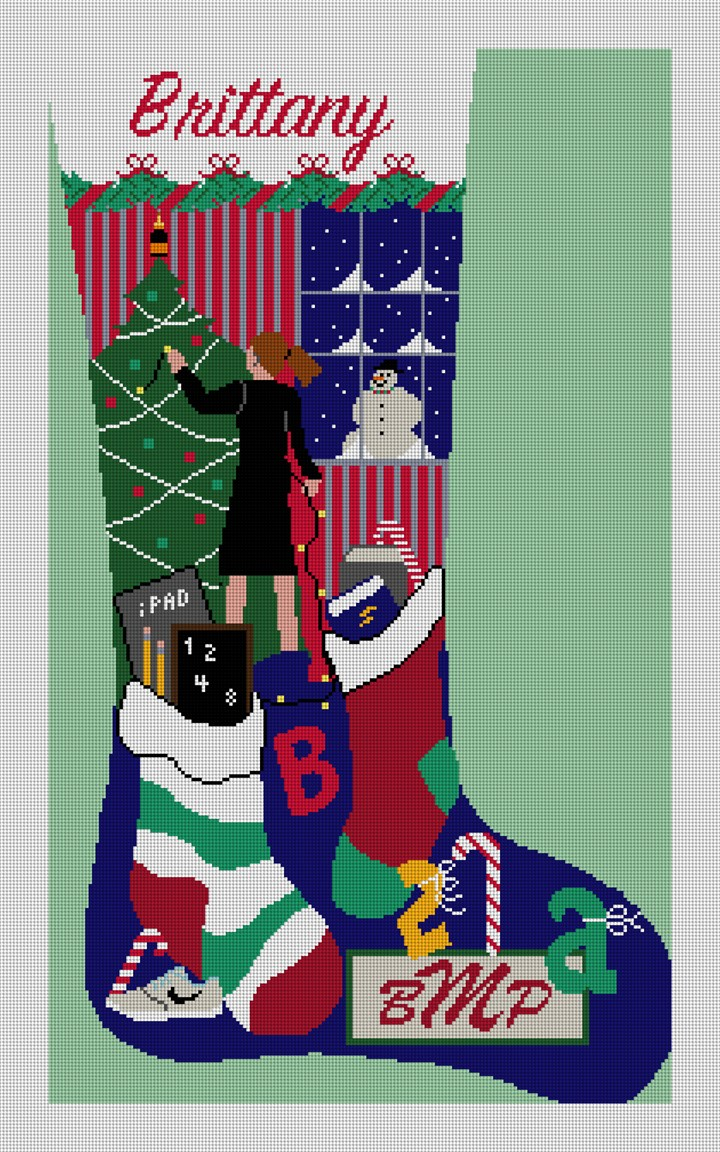 Holiday Decorating Stocking Needlepoint Canvas